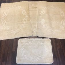 ROMANY WASHABLES GYPSY MATS 4PC SETS NON SLIP FRAME DESIGN CREAM IVORY QUALITY